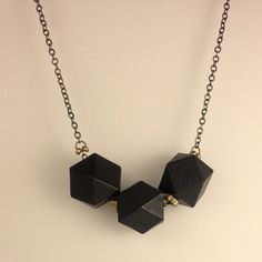 Polyhedron Necklace Black now featured on Fab.