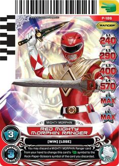 Red Mighty Morphin Power  Ranger with Dragon Shield power card