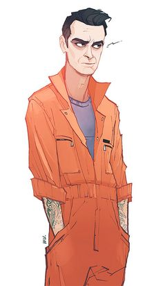 Rudy Wade, from SkyTV's epically foul-mouthed tv show Misfits, as drawn by Annie Wu.  Frickin' Joe Gilgun's face, man.