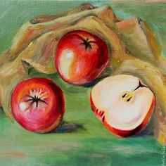 Red apples - Oil painting on canvas -Christmas gift - Home decor