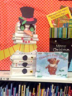 Snowman book art at Oak Ridges Moraine Library