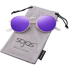 57807c30bb Amazon.com  SojoS Small Round Vintage Mirror Lenses UV Protection Polarized  Unisex Sunglasses SJ1014 With Silver Frame Silver Lens  Clothing