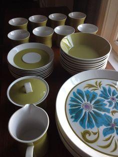 Vintage MIKASA DUPLEX By Ben Seibel green 44 pc. Dinnerware Set Mid Century