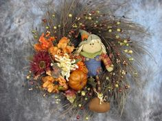 Scarecrow Floral Berry Twig Wreath