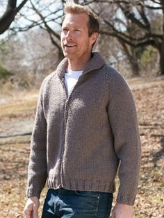 Dad's Zip Front Jacket | Yarn | Free Knitting Patterns | Crochet Patterns | Yarnspirations