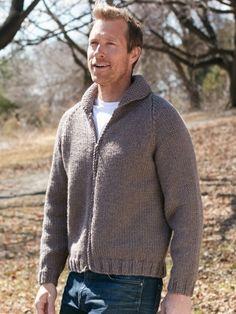 Dad's Zip Front Jacket | Yarn | Free Knitting Patterns | Crochet Patterns | Yarnspirations