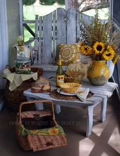 early fall sunflower theme picnic, salad in a jar