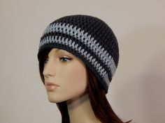 Womens Charcoal Gray and Light Blue Beanie, Ladies Hats, Womens Beanies, Grey Beanie Hat, Winter Hats, Blue and Gray, Ladies Winter Fashion by MarlowsGiftCottage on Etsy
