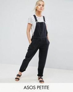 ASOS PETITE Denim Overall in Washed Black
