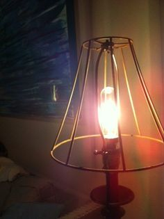 industrial metal lampshade frame rusted rustic by FourthandFrolic, $15.00