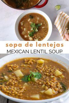 Lentils And Potato Recipe, Lentil Potato Soup, Vegan Lentil Soup, Lentil Soup Recipes, Healthy Lentil Soup, Mexican Lentil Soup Recipe, Mexican Bean Soup, Vegetarian Recipes Videos, Baby Food Recipes