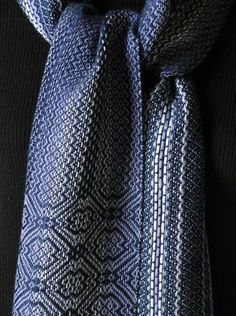 Handwoven scarf  in navy, silver and periwinkle