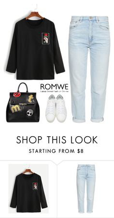 """""""ROMWE Contest"""" by pamela-802 ❤ liked on Polyvore featuring M.i.h Jeans and Yves Saint Laurent"""