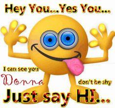 Say Hi Donna - Jumpshare Hello Animated Emoticons, Funny Emoticons, Animated Gif, Smileys, Happy Birthday Emoji, Happy Emoticon, Funny Emoji Faces, Smiley Faces, Emoticon Faces