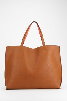 Reversible Vegan Leather Oversized Tote Bag-urban outfitters