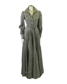 Vintage Jean Varon Checker-board Printed Dress by Palettelondon