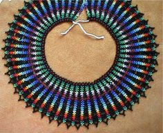 """Saraguro """"Rectas"""" Collar Pattern by Chris Prussing Beaded Necklace Patterns, Jewelry Patterns, Beading Patterns, Beaded Jewelry, Crochet Earrings, Jewelry Ideas, Jewellery, Beaded Collar, Beaded Lace"""