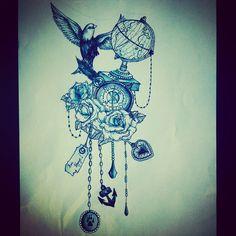 Travel tattoo globe bird roses beads