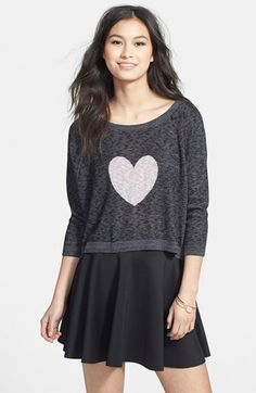 Truehitt Heart Graphic Marled Sweater (Juniors) (Online Only) available at #Nordstrom