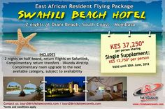 Kenya, 2 Nights at Diani Beach East African Residents Flying Package