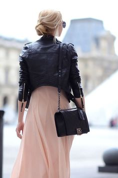 Messy bun, leather jacket, pink flowy tulle dress. #Streetchic #StyleChat