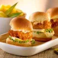 Coconut Shrimp Minis with Tropical Sauce. Tropical sauce oh yea. Shrimp Recipes, Sauce Recipes, Cooking Recipes, Party Recipes, Sandwiches, Good Food, Yummy Food, Delicious Recipes, Salsa