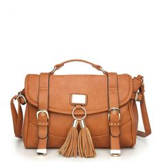 Move Moda Tan Buckle Tassel Satchel Bag Newin