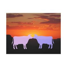 Two ghost cows kiss silhouetted by sunset on the South Rim of the Grand Canyon. Colorful and whimsical southwestern art combining original landscape photography and digital art.