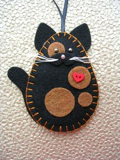 Cat Ornament Felt Cat Ornament Tortoiseshell Cat Tortie Cat