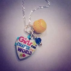"Sporty Girl ""Girls Can Change The World"" Locket Softball Necklace on Etsy, $17.00"