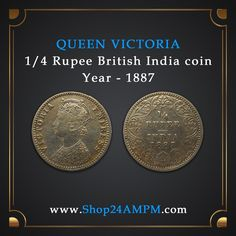 Quarter Rupee British India 1887 Silver Coin Queen Victoria  Indian Old Coins