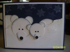 SU! Polar Bear punch art -  Mary Beth Dagostino.    So cute!   Great winter card for OWH.    Like a parent to a child as Missing You?