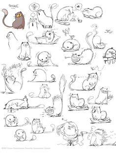 64 Trendy Drawing Animals Tips Character Design References Cartoon Drawings, Animal Drawings, Drawing Sketches, Cat Sketch, Funny Sketches, Cartoon Cats, House Sketch, Drawing Animals, Girl Cartoon