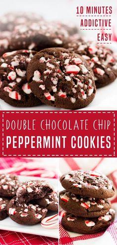 Pepermint Cookies, Chocolate Peppermint Cookies, Chocolate Cookie Recipes, Homemade Chocolate Chips, Peppermint Brownies, Double Chocolate Cookies, Holiday Cookie Recipes, Holiday Baking, Christmas Baking