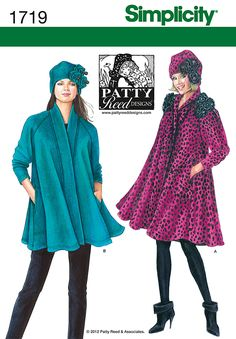 "Simplicity 1719 Misses' Coat, Jacket and Hat  Misses' swing coat and jacket has raglan sleeves, side seam pockets and fleece flower embellishments. Hat in three sizes S(21""), M(22""), L(23"") has matching embellishment detail. Patty Reed Designs."