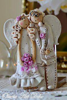 Foto Clay Dolls, Felt Dolls, Polymer Clay Crafts, Felt Crafts, Christmas Angels, Christmas Crafts, Salt Dough Crafts, Dremel Wood Carving, Angel Crafts