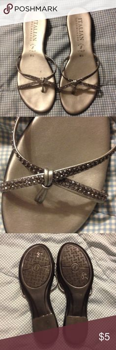Silver Dress Sandals Italian made sandals, flip-flop style. Features dark rhinestones on straps Shoes Sandals