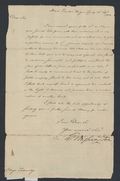 Washington, George. Letter, 1780 September 16 : Head Quarters, Bergen County, to Major Benjamin Tallmadge. n.p.: 1780 (Special Collections, Stony Brook University Libraries-note: prior to conservation)