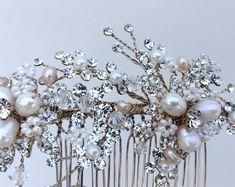 Crystal and Pearl Bridal Hair Comb Wedding Hair Comb Ivory &