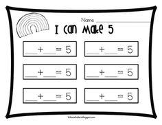 The Littlest Scholars: Ways to Make 5 Rainbow [Freebie! Kindergarten Journals, Kindergarten Math, Teaching Math, Math For Kids, Fun Math, Math Activities, Math Resources, Mega Math, Math Addition