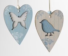 Butterfly and bluebird hearts