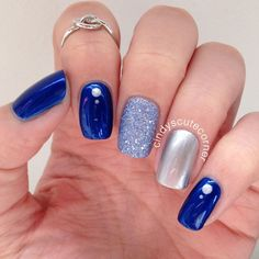 66 natural summer nails design for short square nails page- 11 Stylish Nails, Trendy Nails, Elegant Nails, Blue And Silver Nails, Blue Nails With Glitter, Blue Gel Nails, Royal Blue Nails, Glitter Manicure, Glitter Paint