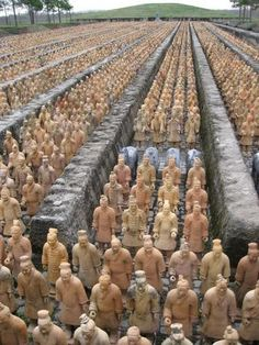 The #terracotta #army excavated from the tomb of the emperor Qin Shi Huang, 209 BC. 8,000 soldiers, 130 chariots with 520 horses and 150 cavalry horses ~ all different from each other.