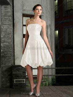 A-line Strapless Taffeta Knee-length Ruched Wedding Dresses