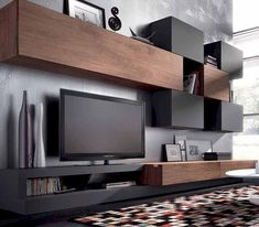 TV Unit Design Inspiration is a part of our furniture design inspiration series. Furniture Inspiration series is a weekly showcase of incredible designs Wall Unit Designs, Tv Unit Design, Living Room Tv, Home And Living, Living Spaces, Tv Furniture, Furniture Design, Tv Regal, Tv Cabinet Design