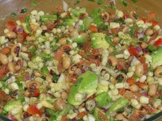 Texas Cavier (black eyed peas)  Substitute the juice of two limes in place of the vinegar.  So much better!