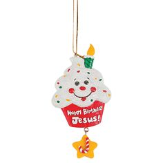 """Happy Birthday Jesus!"" Cupcake Christmas Ornaments - OrientalTrading.com"