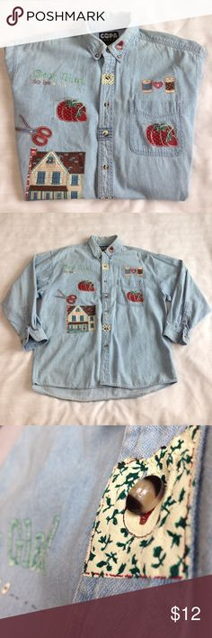 "✂️""Sew Glad to be..."" Women's Painted Sewing Theme Really cute Ladies Copa Banana Painted Sewing Theme Long Sleeve Denim Shirt  Color: Light Blue  Size: L Material: 100% Cotton  Good preowned condition.  Measurements: Bust 49"" Waist 49"" Front Length 30"" Shoulder to shoulder 21 1/2"" Sleeve Length 22""  All my listings come from a smoke free home. 🌟I also offer 15% discount 2+ bundle!🌟 Copa Banana Tops Button Down Shirts"
