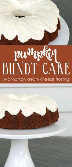 Pumpkin cake with cinnamon cream cheese frosting. The best pumpkin cake ever! Everyone raves about this pumpkin cake recipe. via creationsbykara.com