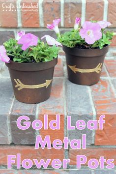 DIY Gold Leaf Flower Pots